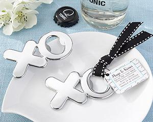 """""""Hugs & Kisses from Mr. & Mrs."""" Chrome XO Bottle Opener-Hugs & Kisses from Mr. & Mrs. Chrome XO Bottle Opener"""