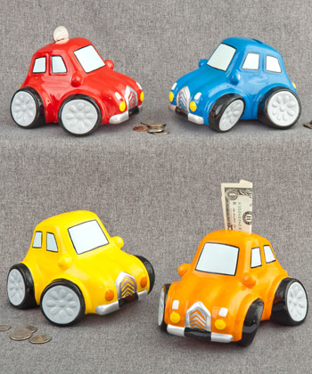 MULTICOLORED CERAMIC CAR BANKS-MULTICOLORED CERAMIC CAR BANKS