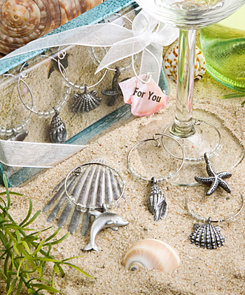 Unique beach themed wine charms-Unique beach themed wine charms