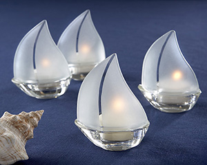 """Set Sail"" Frosted Glass Sailboat Tealight Holders - Set of 4-beach wedding favors"