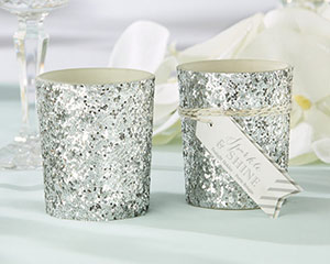 """SPARKLE AND SHINE"" SILVER GLITTER VOTIVE (SET OF 4)-SPARKLE AND SHINE SILVER GLITTER VOTIVE (SET OF 4)"