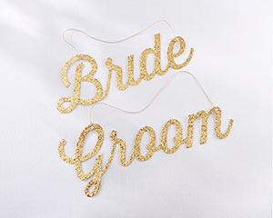 GOLD GLITTER BRIDE AND GROOM CHAIR SIGNS-GOLD GLITTER BRIDE AND GROOM CHAIR SIGNS