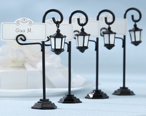 """""""Bourbon Street"""" Streetlight Place Card Holder with Coordinating Place Cards (Set of 4)-vintage wedding favors, vintage wedding place card holder, garden wedding place card holder, black and white wedding favors, placecards, reception card, place card holders, card place holders, wedding table names, placecard holders, wedding table numbers, place card holder, wedding table number ideas, wedding table cards"""