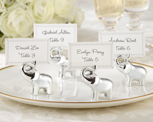 Lucky in Love Silver-Finish Lucky Elephant Place Card/Photo Holder (Set of 4)-Lucky Elephant Place Card/Photo Holder