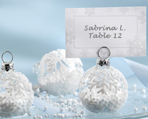 Snow Flurry Flocked Glass Ornament Place Card/Photo Holder (Set of 6)-placecards, reception card, place card holders, card place holders, wedding table names, placecard holders, wedding table numbers, place card holder, wedding table number ideas, wedding table cards