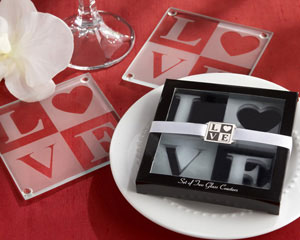 LOVE Frosted-Glass Coasters in Elegant Gift Box with Matching Charm-