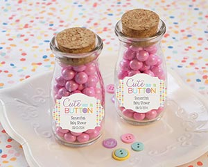 """CUTE AS A BUTTON"" PERSONALIZED MILK JAR (SET OF 12)-CUTE AS A BUTTON PERSONALIZED MILK JAR (SET OF 12)"