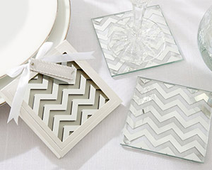 """Shimmer and Shine"" Silver Chevron Coasters-Shimmer and Shine Silver Chevron Coasters"
