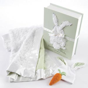 """Bunnies in the Garden"" Luxurious 3-Piece Blanket Gift Set-Bunnies in the Garden Luxurious 3-Piece Blanket Gift Set"