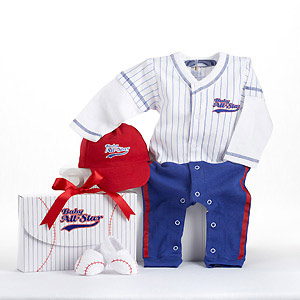 """Big Dreamzzz"" Baby Baseball Three-Piece Layette Set in All-Star Gift Box-Big Dreamzzz Baby Baseball Three-Piece Layette Set in All-Star Gift Box"