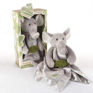 """Ekko the Elephant"" Little Expeditions Plush Rattle Lovie with Crinkle Leaf-Ekko the Elephant Little Expeditions Plush Rattle Lovie with Crinkle Leaf"