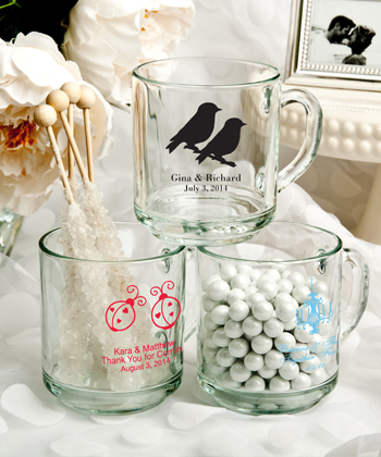 Personalized 10 Oz. glass Handy mug favors-Personalized 10 Oz. glass Handy mug favors