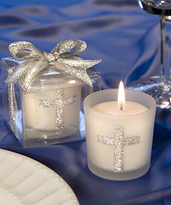 Silver Cross Themed Candle Favors-Silver Cross Themed Candle Favors,Favors For Communions, Favors For Christenings, Favors For Baptisms, Baptism & Christening Favors, promo items, giveaway ideas, Sunday school gifts, church marketing