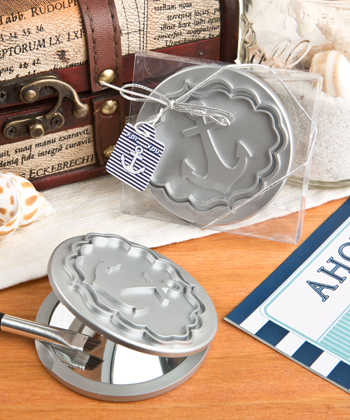 Round Compact Mirror With Anchor Design From Fashioncraft-Round Compact Mirror With Anchor Design From Fashioncraft, Baptism & Christening Favors, promo items, giveaway ideas, Sunday school gifts, church marketing