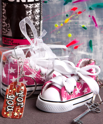 Oh-So-Cute Animal Print Baby Sneaker Key Chain-Oh-So-Cute Animal Print Baby Sneaker Key Chain