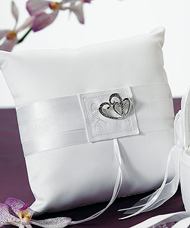 Classic Double Heart Square Ring Pillow-wedding ring bearer pillow, heart theme wedding ring bearer pillow, heart theme wedding ideas, heart theme weddings
