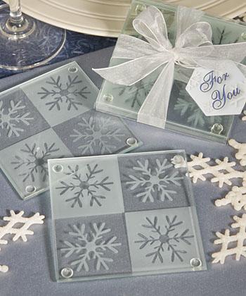 Lustrous snowflake glass coaster set of 2-