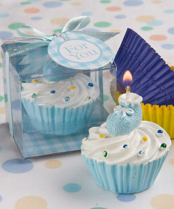 Blue/Pink cupcake design candle favors-Blue/Pink cupcake design candle favors