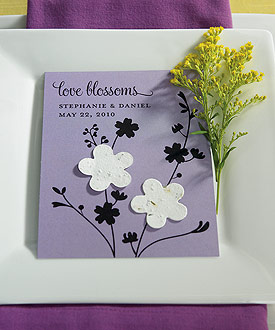 Love Blossoms Personalized Favor Card with Two Seeded Paper Blossoms ( Set of 12 )-Love Blossoms Personalized Favor Card with Two Seeded Paper Blossoms by weddingstar