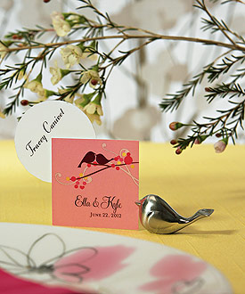 Love Bird Card Holders with Brushed Silver Finish - Set of 8-love bird wedding, bird wedding decoration ideas, weddingstar love bird wedding place card holders