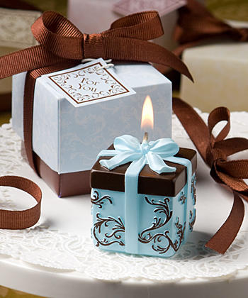 Brown and Blue Gift Box Collection candle favor-Brown and Blue Gift Box Collection candle favor