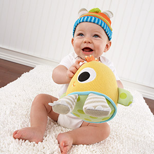 """Clyde the Closet Monster"" Knit Baby Hat and Plush Toy Gift Set-Clyde the Closet Monster Knit Baby Hat and Plush Toy Gift Se"