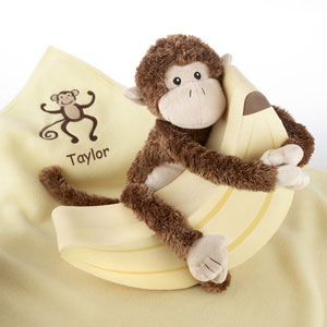 Plush Monkey Magoo and Blankie Too! in Keepsake Banana Gift Box (Personalization Available)-