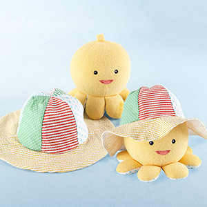 """Little Wader and Sun Shader"" Baby Sunhat and Plush Octopus Gift Set-Little Wader and Sun Shader Baby Sunhat and Plush Octopus Gift Set"
