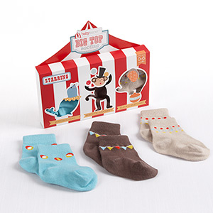 """Big Top Booties"" Set of Three Circus-Themed Socks-Big Top Booties Set of Three Circus-Themed Socks"
