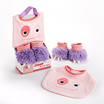 """Chomp & Stomp"" Monster Bib and Booties Gift Set-Chomp & Stomp Monster Bib and Booties Gift Set"