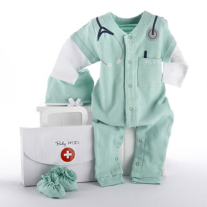 "Big Dreamzzz Baby M.D. Two-Piece Layette Set in ""Doctor's Bag"" Gift Box-"