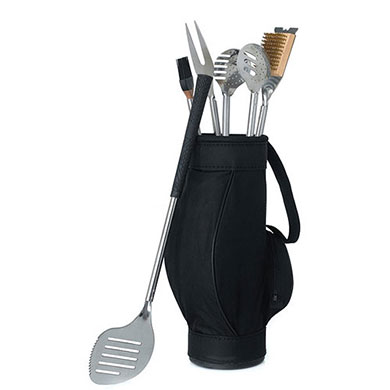 Novelty 5 Piece BBQ Tools In Black Golf Bag And Golf Grips-Piece BBQ Tools In Black Golf Bag And Golf Grips