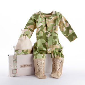"""Big Dreamzzz"" Baby Camo Two-Piece Layette Set in ""Backpack"" Gift Box-new born baby gift ideas, gift for baby shower"
