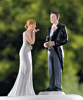 Bride Blowing Kisses and Groom in Suit Cake Toppers-new 2011 weddingstar cake topper, romantic wedding cake topper