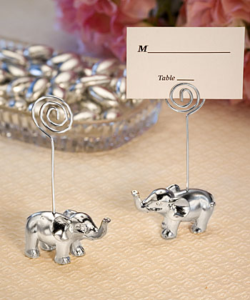 Silver Finish Elephant Place Card Holders-Silver Finish Elephant Place Card Holders