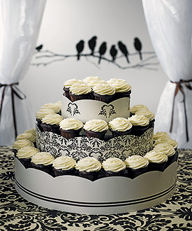 Grand Display Tower for Cupcakes - Love Bird Damask-Grand Display Tower for Cupcakes - Love Bird Damask