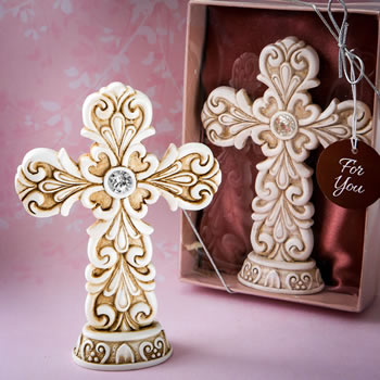EXQUISITE BAROQUE DESIGN CROSS STATUE-Cross design letter favors,Favors For Communions, Favors For Christenings, Favors For Baptisms, Baptism & Christening Favors, promo items, giveaway ideas, Sunday school gifts, church marketing