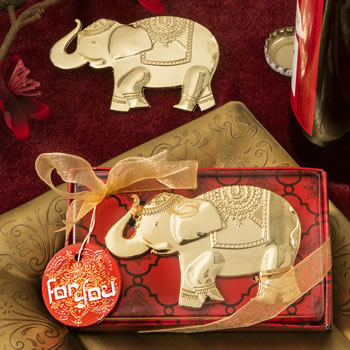 GOOD FORTUNE ELEPHANT DESIGN GOLD METAL BOTTLE OPENER-GOOD FORTUNE ELEPHANT DESIGN GOLD METAL BOTTLE OPENER