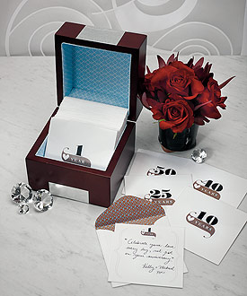 Wooden Memory Note Box with Anniversary Stationery-Wooden Memory Note Box with Anniversary Stationery