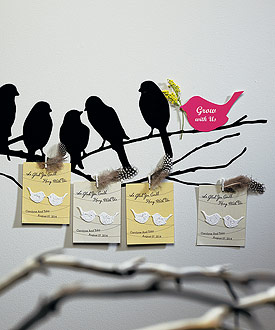 Hang With Us Personalized Favor Card with Seed Paper Love Birds-green and natural wedding favors