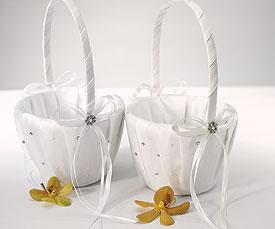 Scattered Pearls Crystals Flower Girl Basket-Flower Girl Basket