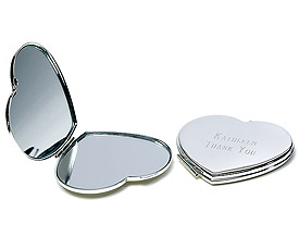 Silver Plated Classic Heart Compact Mirror-wedding gifts, personalized wedding gifts, silver weddings, heart themed weddings