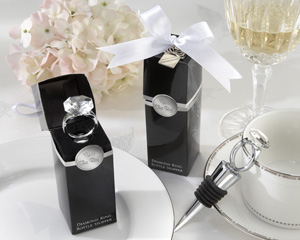 With This Ring Chrome Diamond-Ring Bottle Stopper-Bottle Stopper Wedding Favors, wine stopper, bottle stopper, bottle with stopper, bottle topper, bottle stopper designs