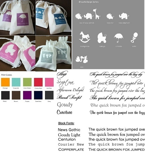 Baby Shower Personalized Silhouette Muslin / Satin Bag Favors-Baby Shower Personalized Silhouette Muslin Bag Favors