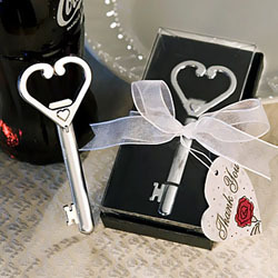 Heart Accented Key Bottle Opener Favors-Heart Accented Key Bottle Opener Favors