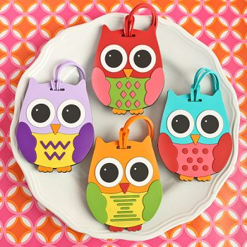 OWL DESIGN LUGGAGE TAGS FOUR ASSORTED 24 PIECE DISPLAY BOX-OWL DESIGN LUGGAGE TAGS: FOUR ASSORTED 24 PIECE DISPLAY BOX