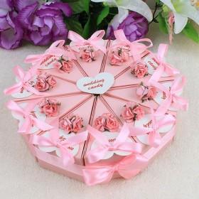 Pink Flower Cake Favor Boxes (Set of 10)-Pink Flower Cake Favor Boxes (Set of 10)