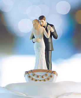 row away wedding couple in rowboat figurine-row away wedding couple in rowboat figurine