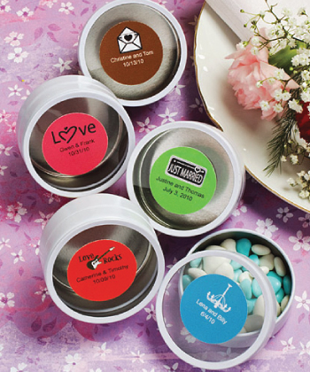 Personalized Expressions Collection silver / white mint tin favors-Personalized Expressions Collection silver mint tin favors