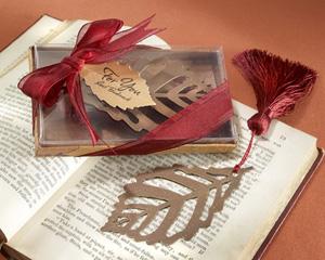 """Turning Leaves"" Bookmark with Burgundy Silk Tassel-silk tassel, bookmark, elegant gift, artistic gift, metal design, burgundy silk, place keeper, autumn leaves, ribbon bookmark"